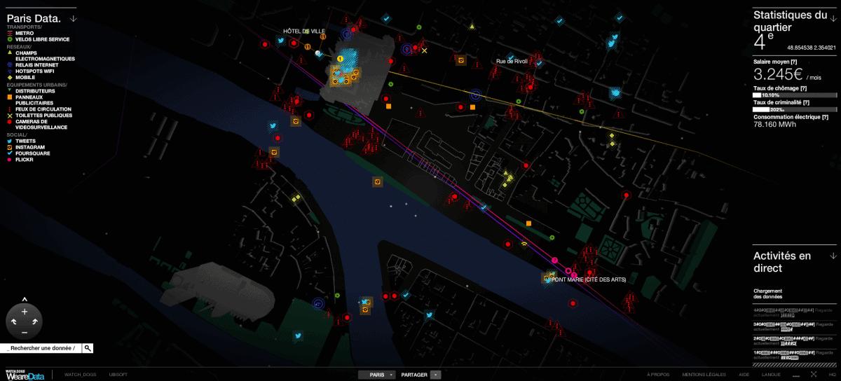 Créé par Ubisoft dans le cadre de la promotion de Watch Dogs, le site We Are Data centralise et met à disposition en temps réel une multitude d'informations sur des grandes villes européennes.