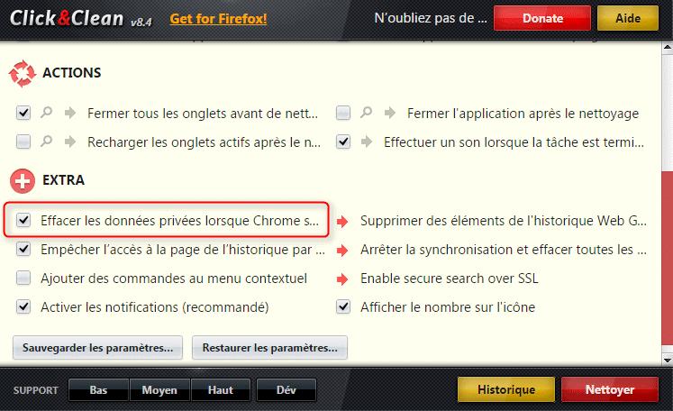 Option de suppression automatique des données personnelles à chaque fermeture du navigateur, sur l'extension Click & Clean pour Google Chrome