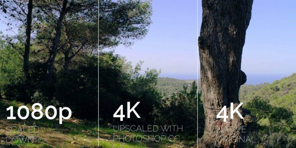 Différence entre une image en HD, en 4K avec upscale, et en 4K natif