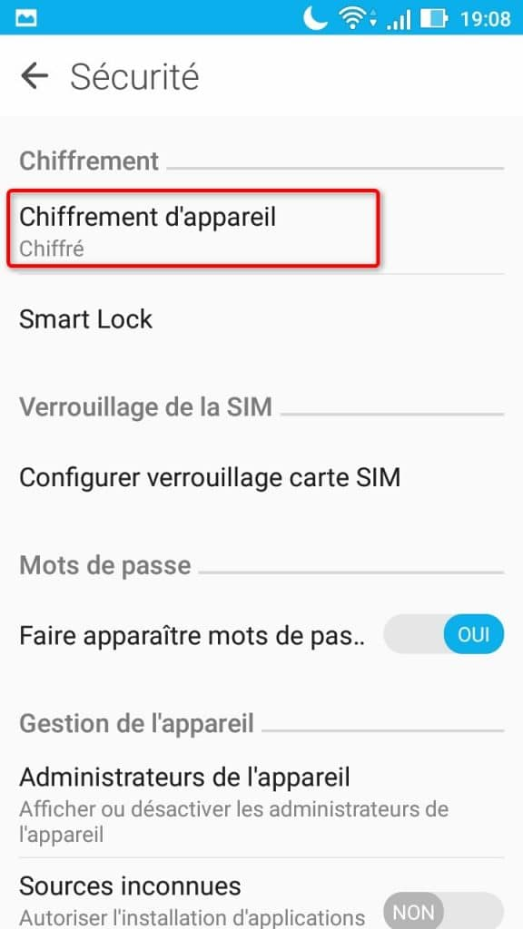 Activation du chiffrement de l'appareil dans les paramètres sous Android