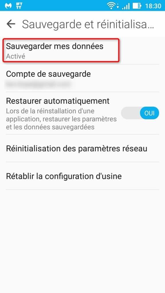 Fonction de sauvegarde dans les réglages Android