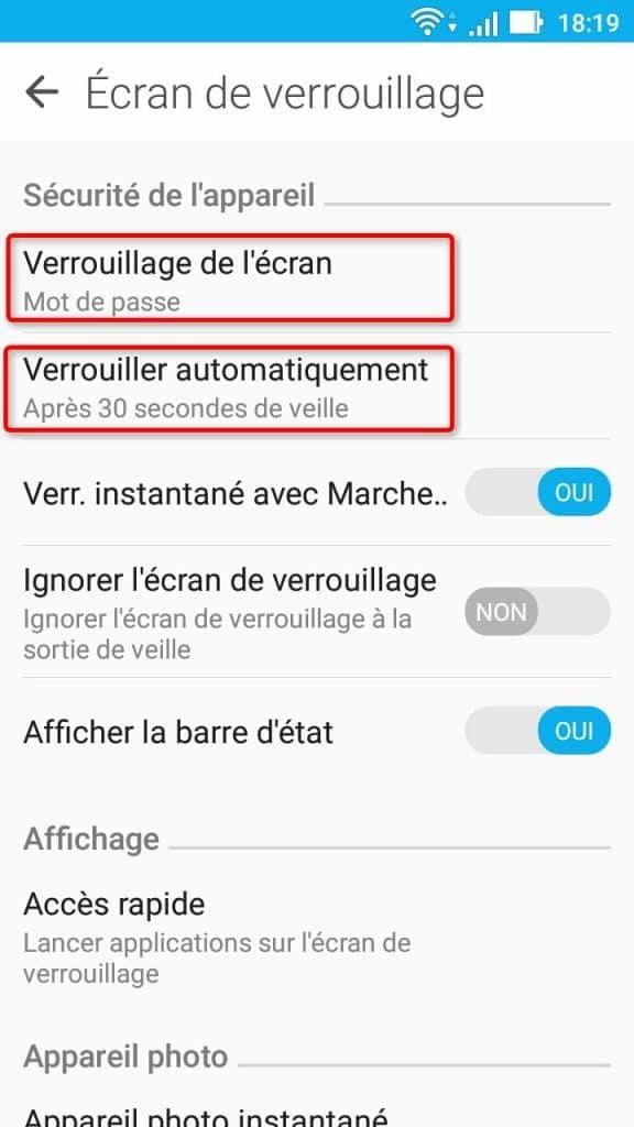 Options de verrouillage de l'écran dans les réglages Android