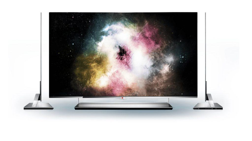 Vue d'une TV OLED de face et de profil (LG)