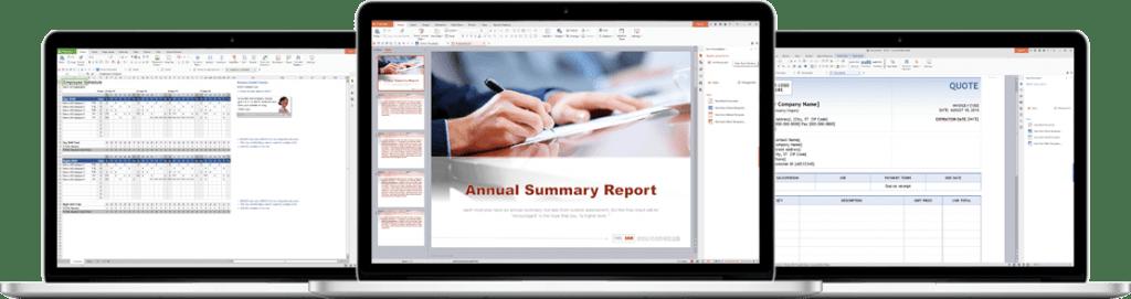 Captures d'écran de WPS Office, avec Writer, Spreadsheets, et Presentation. Une suite bureautique gratuite en alternative à Microsoft Office.