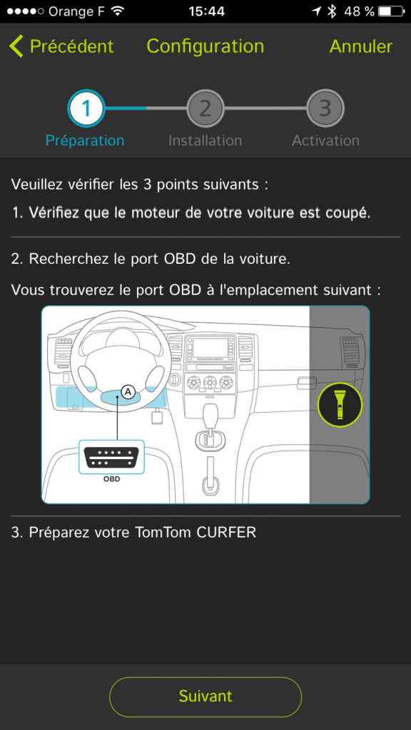Assistant d'installation du TomTom Curfer sur l'application pour iPhone