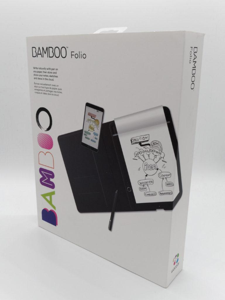 Packaging du bloc note connecté Wacom Bamboo Folio