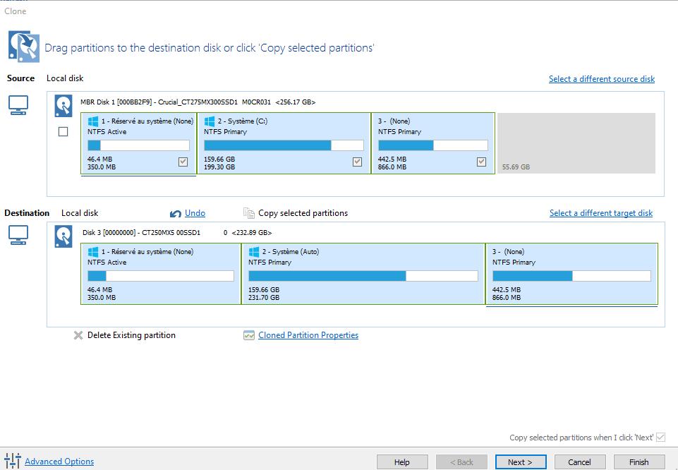 Visualisation des partitions clonées depuis le disque dur sur le nouveau SSD dans Macrium Reflect Free.