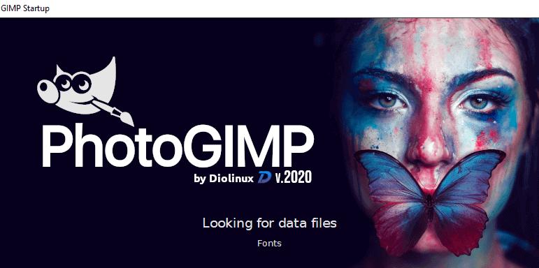 Nouvel écran de chargement de GIMP après installation de PhotoGIMP.
