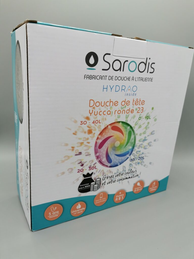 Le pommeau de douche économique et connecté Hydrao Yucca, fait en partenariat avec la marque Sarodis.